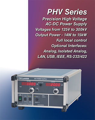 TDK-Lambda PHV Precision High Voltage Programmable DC Power Supply Outputs