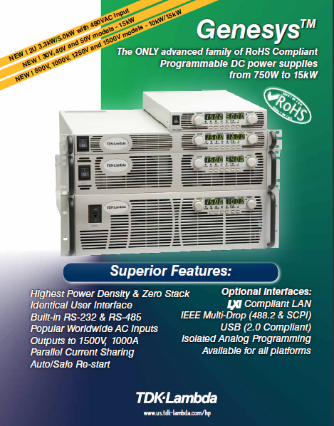 TDK-Lambda Genesys™ Family of Programmable DC Power Supplies output from (6V)@100A to (1500V)@10A